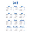 spanish vertical calendar on 2018 year vector image