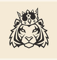 tiger in crown mascot vector image vector image