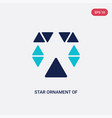 two color star ornament small triangles icon vector image vector image