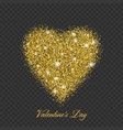 valentine day gold glitter shiny heart vector image vector image