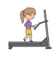 woman running on a treadmill vector image vector image