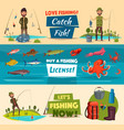 fishing banner set with fishermen and fish vector image