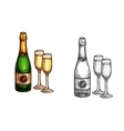 Christmas New Year champagne bottle glass sketch vector image