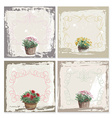Abstract grunge frame set garden flowers vector image vector image