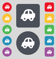 Auto icon sign A set of 12 colored buttons Flat vector image