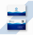 business card template in blue wavy style vector image vector image