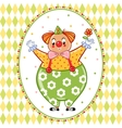Card poster or invitation with a circus clown vector image