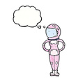 cartoon female astronaut with thought bubble vector image vector image