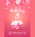 celebrating 4 years birthday 3d vector image vector image