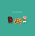 chokolate croissant and coffee friends vector image vector image
