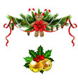 christmas decoration evergreen trees and bell vector image vector image