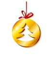 Christmas tree in golden circle vector image vector image