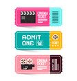 cinema ticket admit one movie flat design tickets vector image