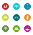 coastal life icons set flat style vector image vector image
