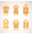 collection eid al adha mubarak golden lanterns vector image vector image