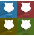 Color set shield Flat modern web button with long vector image