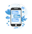 communication in online chat with smartphone vector image vector image