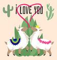 cute cartoon alpaca in love - mexican lama card vector image