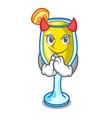 devil mimosa mascot cartoon style vector image vector image