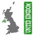 dotted map of united kingdom and grunge rectangle vector image