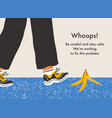 error page with a danger slip on a banana peel vector image vector image