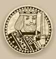 face of king on round crumpled paper background vector image vector image