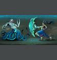 fighting scene between elf and sea monster vector image vector image