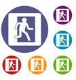 fire exit sign icons set vector image