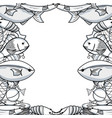 fish and lobster animal background design vector image