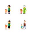 flat icon family set of grandchild boys daugther vector image vector image