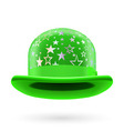 Green starred bowler hat vector image vector image