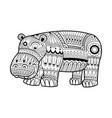 hand drawn hippopotamus for coloring book vector image