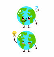happy cute earth planet with question mark vector image vector image