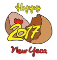 Happy New Year 2017 hatched from an egg vector image vector image