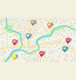 map city with gps pins direction markers vector image vector image