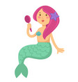 mermaid cartoon character with red hair looking in vector image