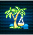 neon palm tropical sign summer plant leaves vector image