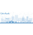 outline cedar rapids iowa skyline with blue vector image vector image