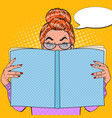 pop art surprised woman reading book vector image