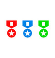 red green blue medal set vector image vector image