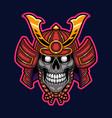 samurai skull head mascot logo vector image vector image