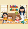 scene with kids doing homework at home vector image vector image