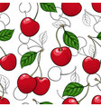 seamless pattern red cherry with black and white vector image vector image
