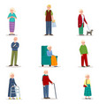 set old senior woman and man in different vector image