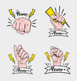 set power hand strong protest vector image vector image