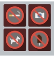 set prohibition signs vector image