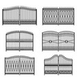 set silhouettes decorative forged gates vector image vector image