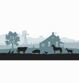 silhouettes farm animals rural landscape vector image