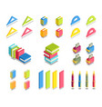 simple set of 3d isometric icons vector image