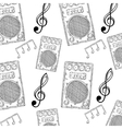 sound speaker stereo system and music notes vector image